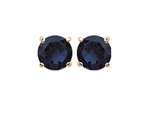 Pendientes chapados en oro y piedra sintética, brillantes, redondos, azul oscuro con 4 garras, 5 mm, joyas para mujer y hombre mixto