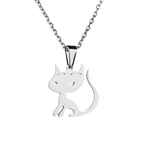 Urne - Medallón Clearance de negocios Colgante de acero inoxidable para mujer o niña, diseño de gato con colgante de joyas de regalo, color dorado