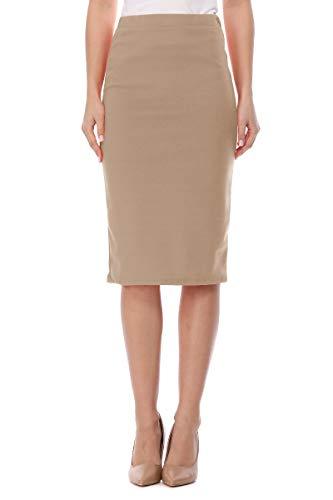Casual Elastic Band High Waist Stretch Office Work Solid Midi Skirt Made in USA Khaki 2XL
