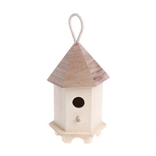 A0127 Pajarera al Aire Libre comedero de Madera jardín decoración Hexagon Nest...