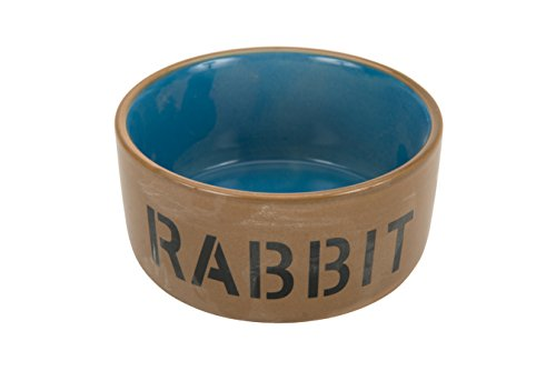 Beeztees 801482 Cuenco de cerámica para Conejo, Azul/Beige, 11,5 cm