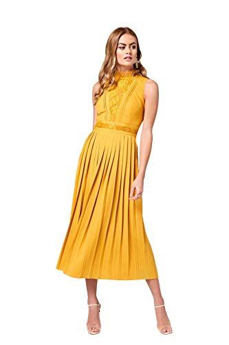 Little Mistress Damen Penelope Lace-Trim Midaxi Dress cocktailkleid, Gelb (Spice Gold 001), 32 (Herstellergröße: 6)