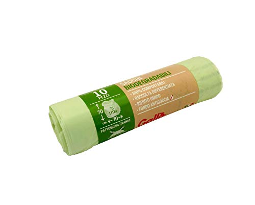 GALLO CONF 79 Sacchi Biodegradabili e Compostabili, Rotolo Contiene 10 Pezzi, Bio, 70x70 cm, 75 l