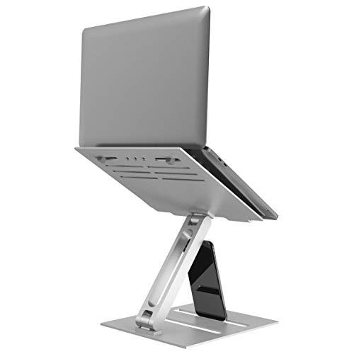 Supporto PC Portatile Alluminio,Klearlook Multi-Angolo Multi-Altezza Regolabile Supporto Laptop,Riser Laptop Braccio Singolo Pieghevole PC Stand,Ventilato Supporto per10-17  Notebook Tablet,Argento