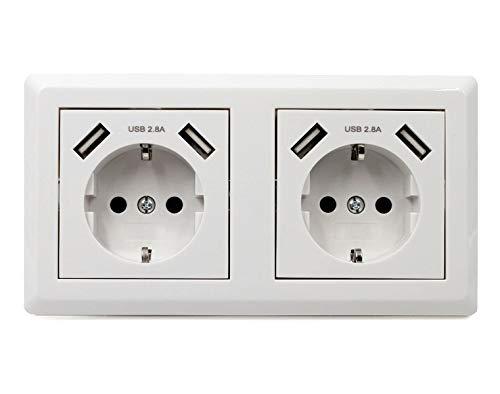 Jindia 2.4A Schuko Enchufe para la pared con 2 puertos de carga USB, toma USB Sockets de pared blancos (2.4A 2 Pack)