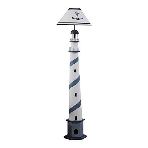 JYXJJKK lámpara de piso Dormitorio Lámpara de pie de madera maciza creativa mediterránea Faro Lámpara de pie hecha a mano retro Modelo de estar Sala sólido registro de madera vertical de la lámpara