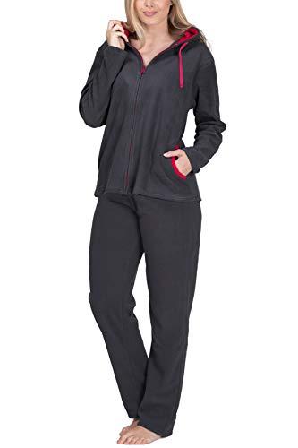 SLOUCHER Fleece-Anzug Hausanzug aus wärmenden Fleece für Damen, Farbe:anthrazit, Größe:44-46