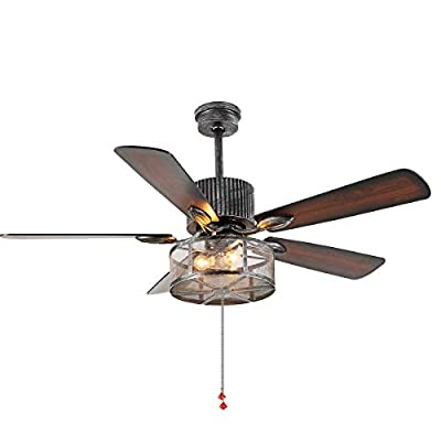 Industrial Ceiling Fan Light 52 Inch 3-Lights E26 Fixture for Restaurant/Living Room/Bedroom Create Iron Cage Rustic Style