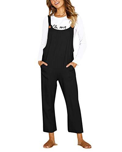 CNFIO Latzhose Damen Jumpsuit Baggy Overalls Baumwolle Lässige Riemchen Overalls Playsuit mit Taschen Schwarz L
