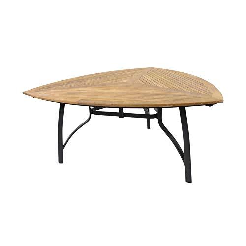 Dreieckiger Esstisch 170cm mit Teakholz - Gartentisch Minzo