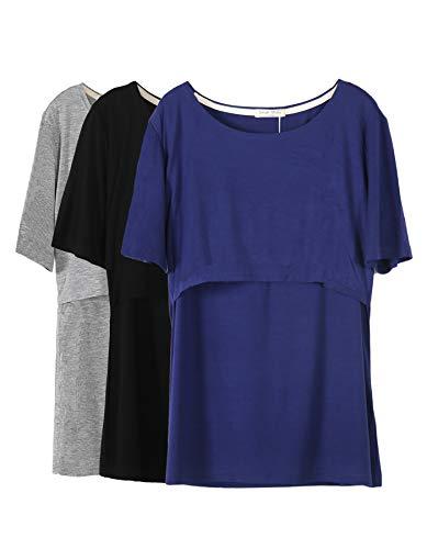 Smallshow 3 Pcs Maternity Nursing T-Shirt Modal Short Sleeve Nursing Tops Dark Blue-Black-Grey,Medium