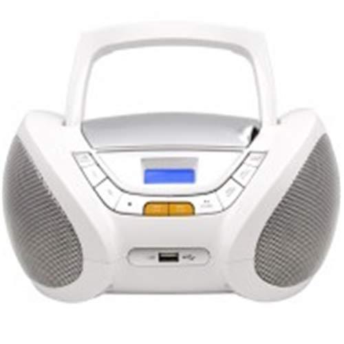 Lauson CP450 Boombox Bluetooth CD Portatile USB | Lettore CD per Bambini | Stereo | Boombox Con Pratica Maniglia | CD MP3 Player Portatili con Bluetooth | AUX IN | LCD-Display (Bianco Bluetooth)