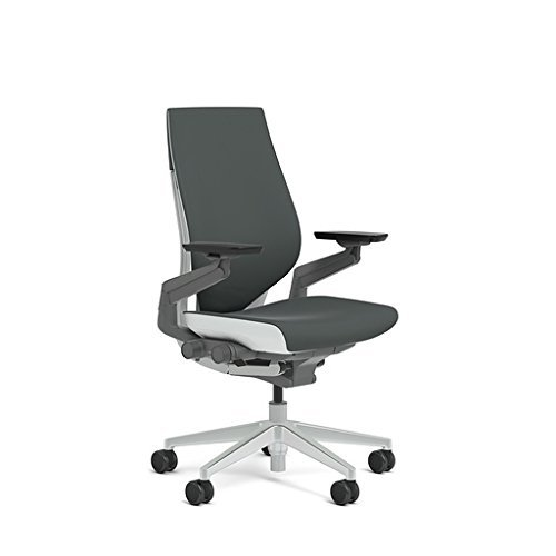 Steelcase Gesture Chair: Wrapped Back - Seagull Accents - Adj Lumbar - Standard Carpet Casters - Platinum Metallic Frame/Base - Connect Graphite Fabric