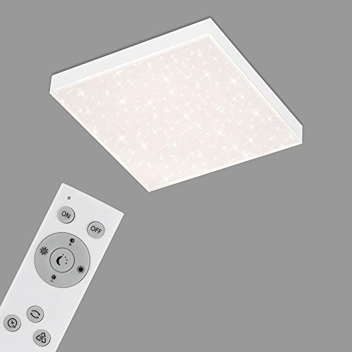 Briloner Leuchten - Panel LED, lámpara de techo regulable, plafón con borde luminoso, decoración de estrellas, control de temperatura de color, 15 vatios, 1600 lúmenes, blanco, 295x295x61 mm