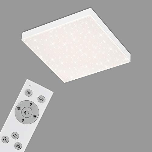 Briloner Leuchten - LED Panel, Deckenleuchte dimmbar, Deckenlampe mit Lichtkante, Sternendekor, inkl. Fernbedienung, Farbtemperatursteuerung, 15 Watt, 1.600 Lumen, Weiß, 295x295x61mm (LxBxH)