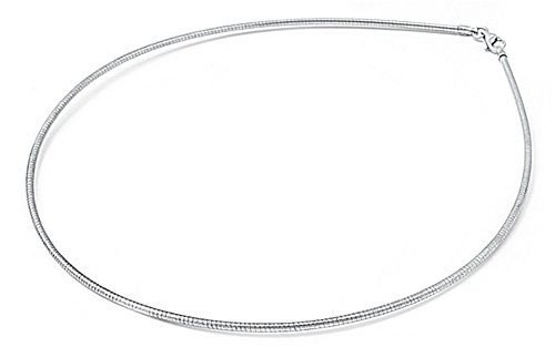 Sterling Silver Round Omega Snake Chain 1.6mm Solid 925 Italy Wire Necklace 18""