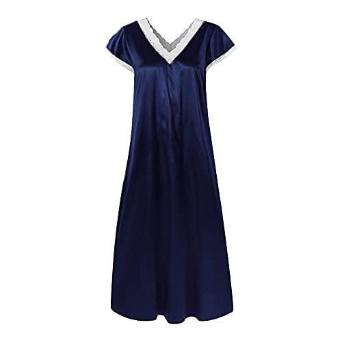 N\P Camisón casual de verano con cuello en V, pijama cómodo, pijama de costura femenina