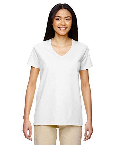 Gildan Heavy Cotton Ladies' 5.3 oz. V-Neck T-Shirt, Medium, WHITE