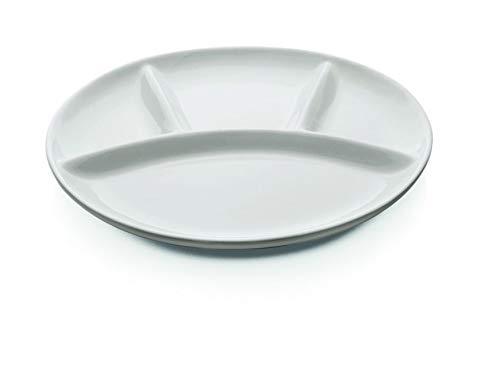 Gastro Spirit - 12-er Set Fondue-Teller - Weiß, Porzellan, Rund, 4-Fach unterteilt, 25 cm Ø, Spülmaschinenfest - 4 Setgrößen erhältlich (6, 12, 18, 24 STK.)