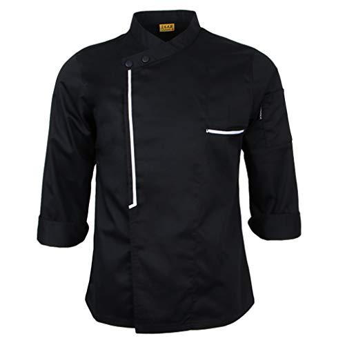 IPOTCH Chaqueta de Chef Cocina Ropa de Hostelería Aficionados - Negro, L