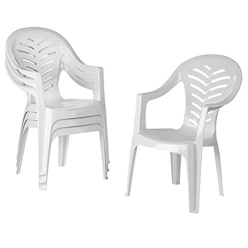 Resol 4 Piece Palma Plastic Garden Dining Chair Set - Stackable UV Resistant Outdoor Patio Armchair - White