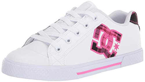 DC Women's Chelsea SE Skate Shoe, White/Plaid/Black, 9 Medium US