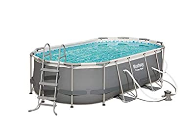 Bestway 56622E Power Steel Above Ground Pool, White/Gray