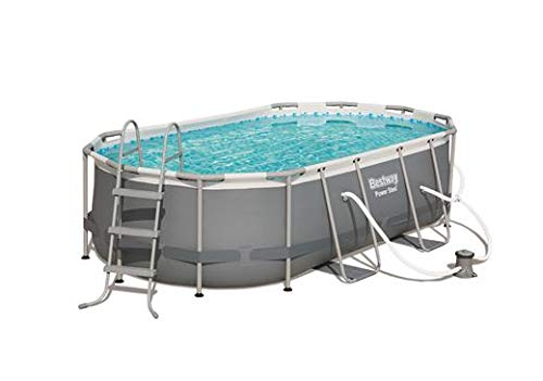 Bestway Power Steel Above Ground Pool, 14ft x 8ft x 40in | Oval Frame Pool Set | Includes Pump & More