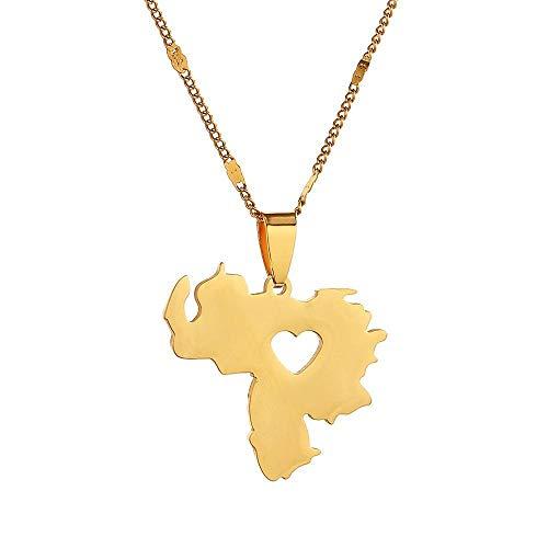 YHHZW Collar Collar con Colgante De Mapa De Venezuela De Acero Inoxidable Joyería De Cadena De Corazón De Mapa De Venezuela - Color Dorado