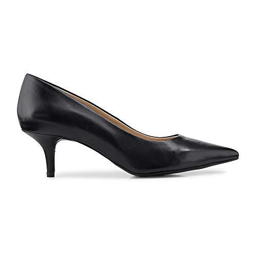 Cox Damen Klassik-Pumps aus Leder, High-Heels in Blau mit Pfennig-Absatz Schwarz Glattleder 39