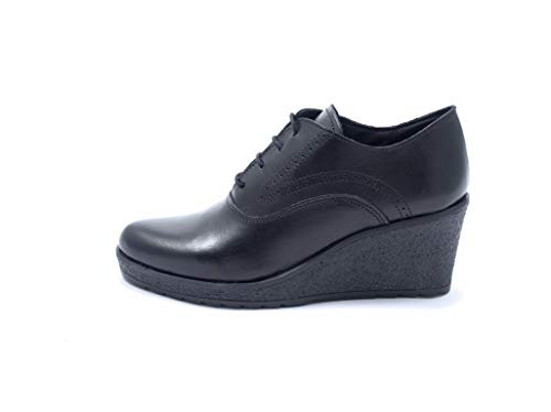 Rendano - Zapato de mujer con cuña, de piel, con cordones, fabricado en Italia Negro Size: 38 EU