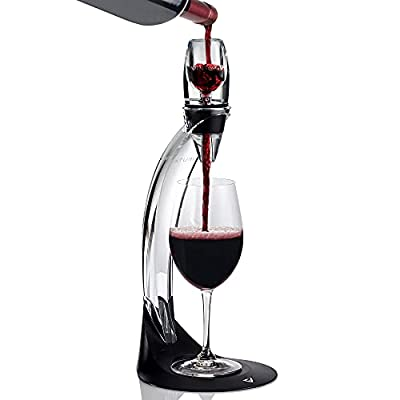 Vinturi Deluxe Essential Red Pourer and Decanter Tower Stand Set Easily and Conveniently Aerates Wine by the Bottle or Glass and Enhances Flavors with Smoother Finish, Black