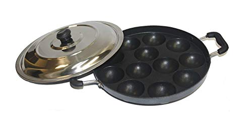 Non Stick Appam Pan, Appam Maker 12 Pits Appam Maker, Appam Pan Patra Non Stick,Appam Patra Paniyaram Non Stick Pan with Stainless Steel Lid,Valentine Day Gifts