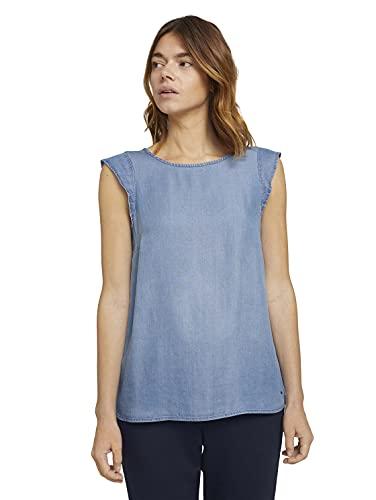 TOM TAILOR Denim Damen 1024991 Basic Bluse, Blue Denim (10110), XS