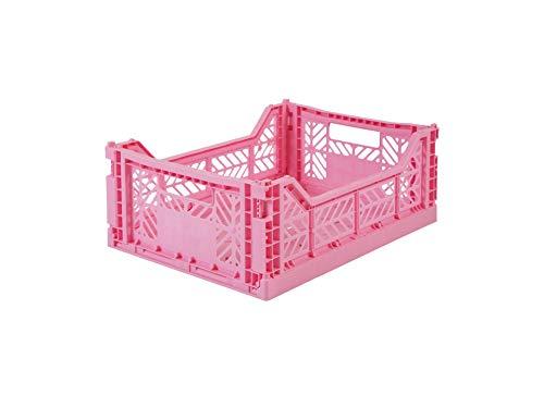Caja plegable Ay-Kasa, caja plegable estable de plástico, apilable, Midi (40x30x14cm), babypink