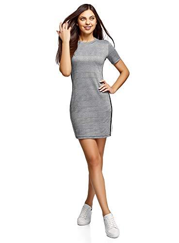 oodji Ultra Mujer Vestido Ajustado con Inserciones, Negro, ES 40 / M
