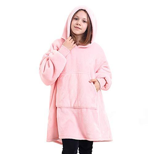Manta Sudadera con Capucha, Soft Warm Manta Perezosa de TV, Premium Sherpa Fleece Sweatshirt para Adolescentes,Rosado,One