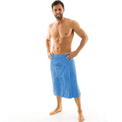aqua-textil Wellness Saunakilt Herren 70 x 160 cm hell blau Baumwolle Saunasarong Frottee Kilt kurzer Schnitt