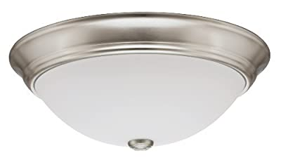 Lithonia Lighting 11983 BNP M2 15-Inch Fluorescent Decor Round Flush-Mount Ceiling Fixture with Lamp, Brushed Nickel by Lithonia Lighting