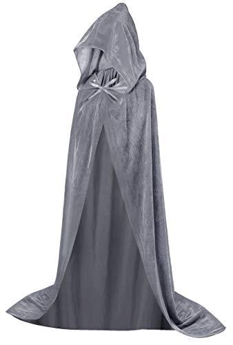 HBselect Halloween Umhang Vampir Kostüm Vampirumhang mit Kapuze für Erwachsene damen herren schwarz rot weiß lila aus Samt