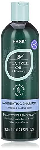HASK Teebaumöl & Rosmarin Shampoo, beruhigend und wiederherstellend, Kopfhautpflege, farbecht, glutenfrei, sulfatfrei, parabenfrei, 355ml