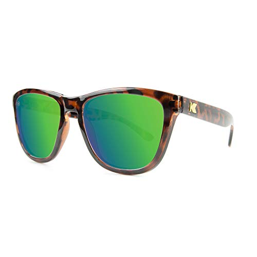 Knockaround Premiums Polarized Sunglasses With Full UV400 Protection For Men And Women, Glossy Tortoise Shell Frames/Green Reflective Lenses