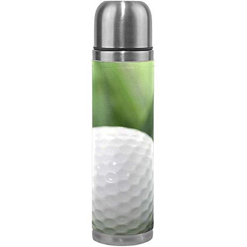 Termo Blanco Pelota de Golf Ciclismo Botella de Agua de Acero Inoxidable con Aislamiento Cubierta de Cuero a Prueba de Fugas Termo 17 Oz