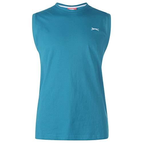 Slazenger Herren Aermellos T Shirt Tank Top Rundhals Muskelshirt Baumwolle Blaugrünes Blau 3XL
