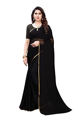 GoSriKi Women's Pure Chiffon Saree with Blouse Piece (Visfot Black_Black), Free