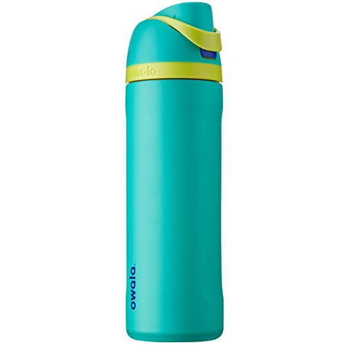 Owala FreeSip Insulated Stainless-Steel Water Bottle with Locking Push-Button Lid, 24-Ounce, Neon Basil