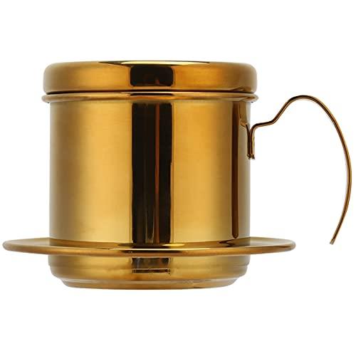 Agatige Tetera de café de Goteo de Acero Inoxidable, Estilo vietnamita, Tetera para té y café para el hogar, la Cocina y la Oficina(Titanio)
