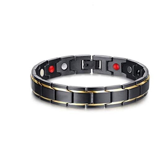 CHRONSTYLE Magnetarmband Herren, Titan Therapie Armbänder für Männer Gesunde Sleek Cuff Armband für Erleichterung Schmerz mit Link Removal Tool (Schwarzes Gold, OneSize)