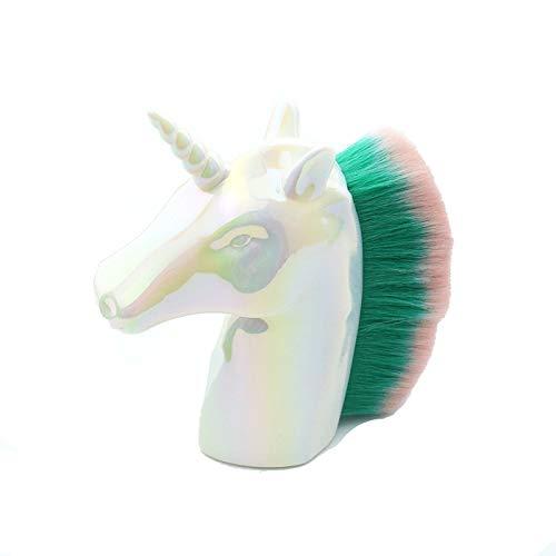 Brosse à ongles pour fond de teint poudre minérale Blending fard à joues Buffing pinceau de maquillage des ongles Unicorn Brosse de nettoyage en option multi-couleurs,Blanc