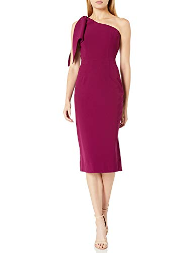 Dress the Population Women's Tiffany ONE Shoulder Bow Detail MIDI Sheath Dress, Dark Magenta, M